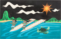 """Mary Blair """"It's a Small World"""" Surfers Concept Painting (Walt Disney, 1964)"""