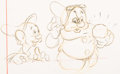 Animation Art:Production Drawing, Snow White and the Seven Dwarfs Dopey and Doc Layout Drawing (Walt Disney, 1937)....