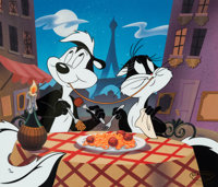 """""""They Eat Pasta Too"""" Pepé Le Pew and Penelope Pussycat Limited Edition Cel #71/100 (Warner Brothers/Cla..."""