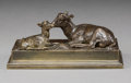 Sculpture, Antoine-Louis Barye (French, 1796-1875). Famille de bouquetins. Bronze with brown patina. 2 inches (5.1 cm) high. Inscri...