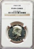 Proof Kennedy Half Dollars, 1968-S 50C PR69★ Cameo NGC. NGC Census: (384/0 and 49/0*). PCGS Population: (238/0 and 49/0*). PR69. ...