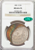 Morgan Dollars: , 1881-S $1 MS64★ Prooflike NGC. CAC. NGC Census: (2953/2239 and 17/30*). PCGS Population: (3698/2714 and 17/30*). MS6...