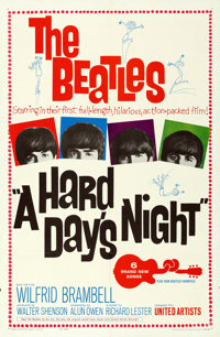 "A Hard Day's Night (United Artists, 1964). Folded, Very Fine. One Sheet (27"" X 41"")"
