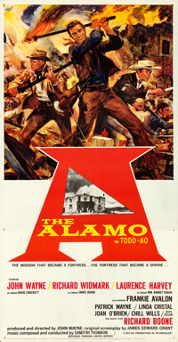 "The Alamo (United Artists, 1960). Folded, Very Fine-. Three Sheet (41"" X 79"") Todd-AO Roadshow Style. Reynold..."