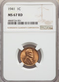 Lincoln Cents: , 1941 1C MS67 Red NGC. NGC Census: (841/0). PCGS Population: (286/1). CDN: $130 Whsle. Bid for problem-free NGC/PCGS MS67. M...