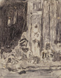 Works on Paper:Drawing, Mariano José María Bernardo Fortuny y Carbo (Spanish, 1838-1874). Man on horse in courtyard with figures and Figures s... (Total: 2 Items)