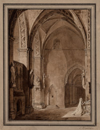Italian School (19th Century) Group of Two Drawings Ink and pencil on paper, each 8 x 5-7/8 inche... (Total: 2)