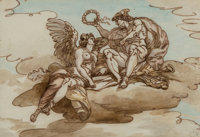 After Giuseppe Cades (Italian, 1750-1799) Mercury crowning Victory and Design for a decorative device (two works) ... (T...
