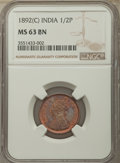 India:British India, India: British India. Victoria 1/2 Pice 1892-(c) MS63 Brown NGC,...