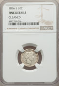 Barber Dimes, 1896-S 10C -- Cleaned -- NGC Details. Fine. NGC Census: (7/94). PCGS Population: (10/207). CDN: $220 Whsle. Bid for problem...