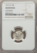 Mercury Dimes, 1917-D 10C -- Cleaned -- NGC Details. AU. This lot will also include a: 1927-S 10C -- Obverse Cleaned -- NGC Details. A... (Total: 2 coins)