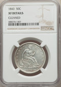 Seated Half Dollars, 1843 50C -- Cleaned -- NGC Details. XF. NGC Census: (12/204). PCGS Population: (56/336). CDN: $150 Whsle. Bid for problem-f...