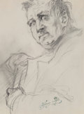 Works on Paper:Drawing, Henryk Siemiradzki (Polish, 1843-1902). Portrait of a man: Self-portrait without a beard and Lovers in a boat, with tw... (Total: 2 Items)