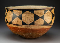 A Santo Domingo Polychrome Dough Bowl c. 1880