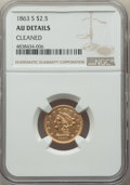 1863-S $2 1/2 -- Cleaned -- NGC Details. AU....(PCGS# 7799)