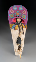 American Indian Art:Beadwork and Quillwork, A Flathead Beaded Hide Cradleboard with Doll. c. 1900...