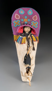 A Flathead Beaded Hide Cradleboard with Doll c. 1900