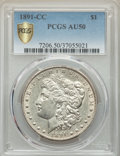 Morgan Dollars, 1891-CC $1 AU50 PCGS Gold Shield. PCGS Population: (207/16582 and 0/374+). NGC Census: (72/5426 and 0/67+). CDN: $200 Whsle...