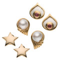 Estate Jewelry:Earrings, Pink Tourmaline, Mabe Pearl, Stainless Steel, Gold Earrings. ... (Total: 3 Items)
