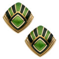 Estate Jewelry:Earrings, Enamel, Gold Earrings, de Vroomen, English . ...