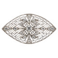 Estate Jewelry:Brooches - Pins, Art Deco Diamond, Platinum, Gold Brooch. ...