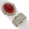 Estate Jewelry:Rings, Diamond, Coral, Gold Rings. ... (Total: 2 Items)