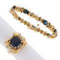 Estate Jewelry:Lots, Sapphire, Diamond, Synthetic Sapphire, Gold Jewelry . ... (Total: 2 Items)