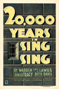 """Movie Posters:Crime, 20,000 Years in Sing Sing (First National, 1932). Very Fine+ on Linen. One Sheet (27.5"""" X 41"""").. ..."""