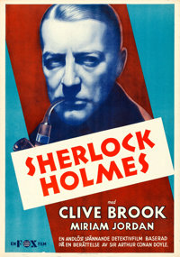 "Sherlock Holmes (Fox, 1933). Rolled, Very Fine-. Swedish One Sheet (27.75"" X 39.5"")"