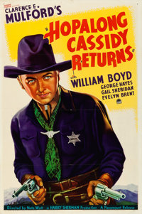 "Hopalong Cassidy Returns (Paramount, 1936). Folded, Very Fine-. One Sheet (27"" X 41"")"