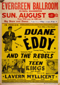 "Music Memorabilia:Posters, Duane Eddy 1959 Boxing-Style Concert Poster ""Forty Miles of Bad Road."". ..."