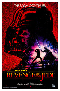 "Revenge of the Jedi (20th Century Fox, 1982). Rolled, Very Fine-. One Sheet (27"" X 41"") Dated Style, Drew Stru..."