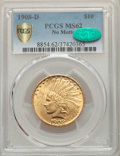Indian Eagles, 1908-D $10 No Motto MS62 PCGS. CAC....