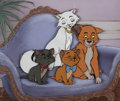 Animation Art:Production Cel, Aristocats Duchess, O'Malley, Berlioz, and Toulouse Production Cel Setup with Key Master Signed Production Background ...