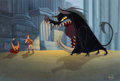 Animation Art:Presentation Cel, Hercules Painted Production Background with Hercules, Wild Boar and Townsman Presentation Cel Setup (Walt Disney, 1997...