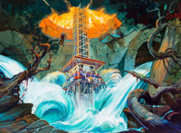 Earthquake: The Ride Busch Gardens Pitch Art Painting by Claudio Mazzoli (Landmark Entertainment, 1999)