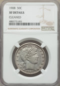 Barber Half Dollars, 1908 50C -- Cleaned -- NGC Details. XF. NGC Census: (4/167). PCGS Population: (20/283). XF40. Mintage 1,354,545....
