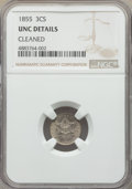 Three Cent Silver, 1855 3CS -- Cleaned -- NGC Details. Unc. NGC Census: (1/79). PCGS Population: (1/117). CDN: $600 Whsle. Bid for problem-fre...