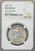 Seated Half Dollars, 1863 50C -- Obverse Cleaned -- NGC Details. Unc. NGC Census: (0/51). PCGS Population: (1/61). CDN: $750 Whsle. Bid for prob...