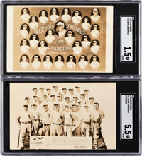 1928 St. Louis Cardinals Real Photo Post Card SGC-Graded Pair (2)
