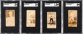 Boxing Cards:General, 1887 N174 Gypsy Queen Boxers SGC-Graded Quartet (4). ...