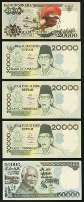 A Group of Bank Notes from Bank Indonesia (70) and Djami (2