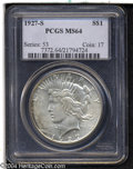 Peace Dollars: , 1927-S S$1 MS64 PCGS....