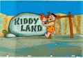 """Animation Art:Painted cel background, The Flintstones """"Fred Strikes Out"""" Pan Production Backgroundwith Fred and Pebbles Production Cel (Hann..."""