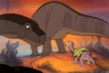 Animation Art:Production Cel, The Land Before Time Little Foot and Parents Production Cel Setup Setup (Amblin, 1988)....