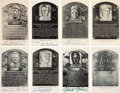 Baseball Collectibles:Others, 1956-63 Hall of Famers Signed Black & White Plaques Lot of 8....