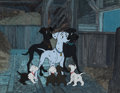 Animation Art:Production Cel, 101 Dalmatians Pongo, Perdita, Labrador and Pups Production Cel with Master Production Background (Walt Disney, 1961)....