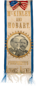 Political:Ribbons & Badges, McKinley & Hobart: Jugate Ribbon Badge....