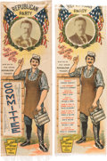 Political:Ribbons & Badges, Theodore Roosevelt: Pair of Colorful Workingman Endorsement Ribbons.... (Total: 2 Items)