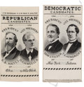 Political:Ribbons & Badges, Hayes & Wheeler and Tilden & Hendricks: Matching Woven Silk Jugate Ribbons.... (Total: 2 Items)